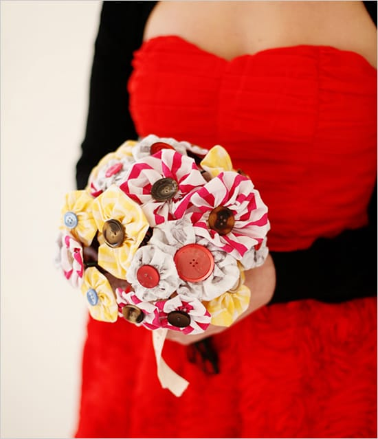 diy fabric wedding bouquet
