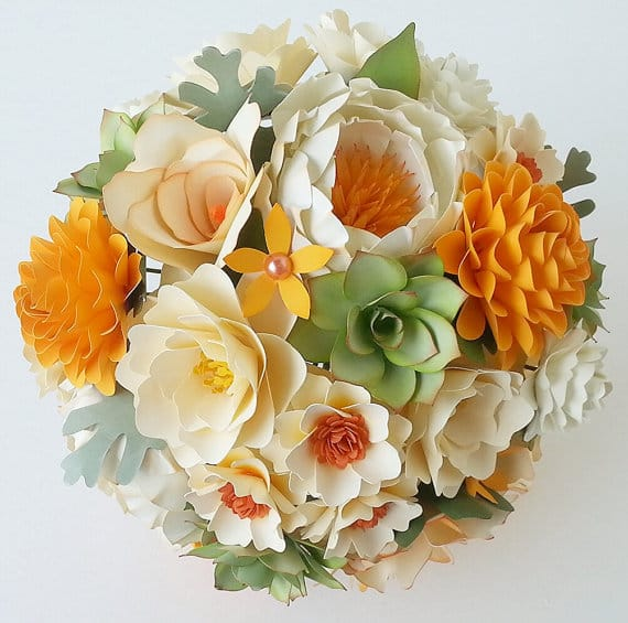 gorgeous paper flower wedding bouquet