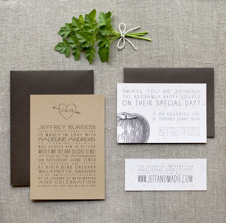 Recycled paper wedding invitations for Green Weddings