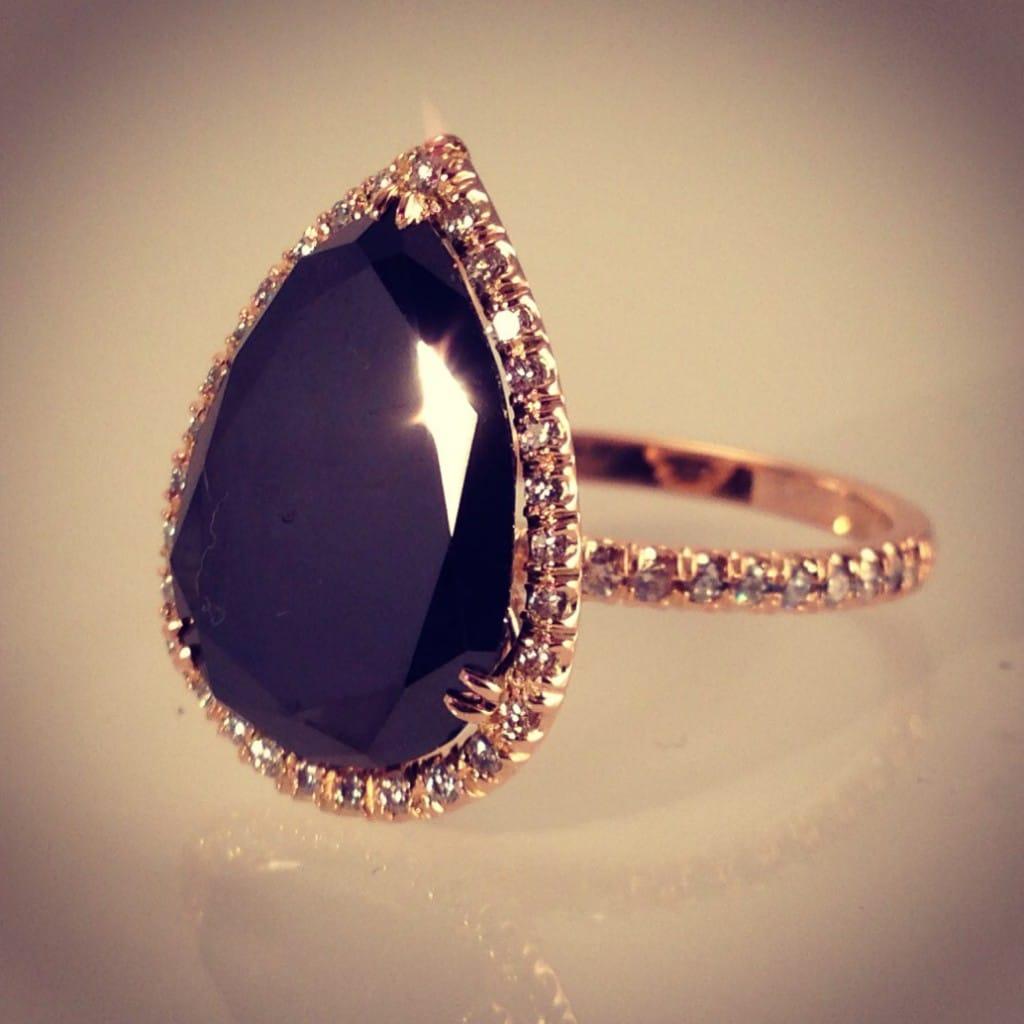black diamond wedding ring in rose gold