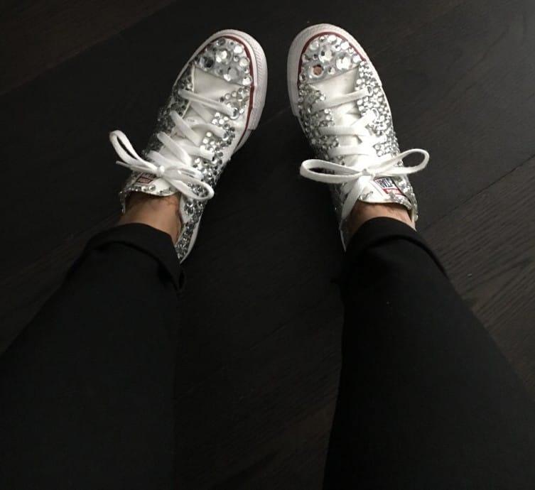 glittery bridal tennis shoes