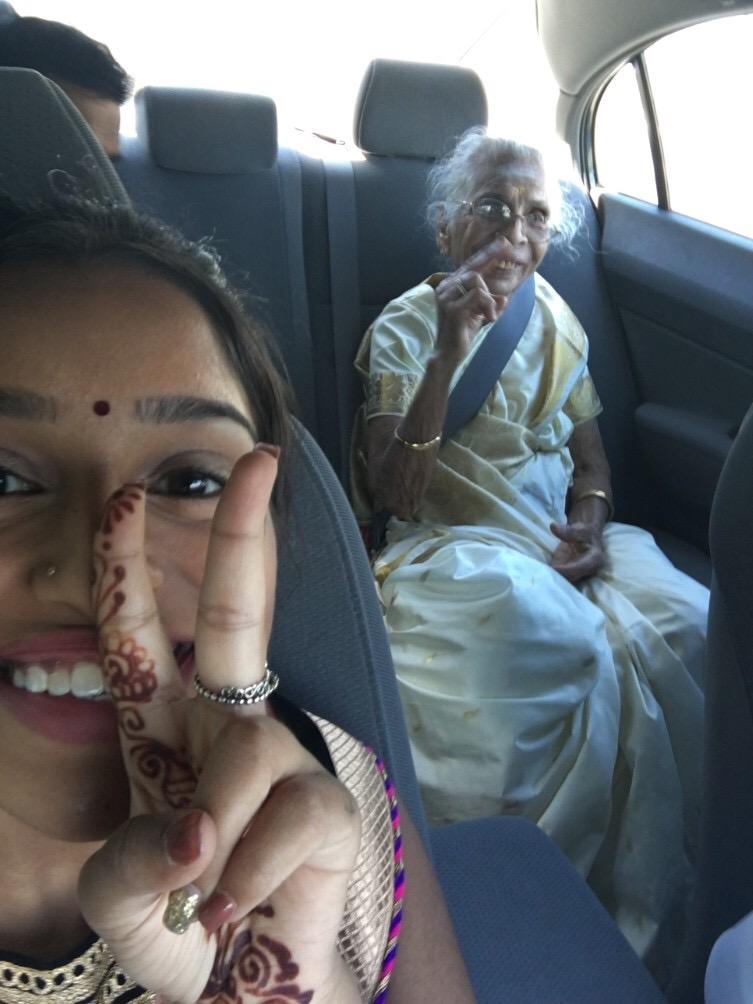 Indian grandma in limo