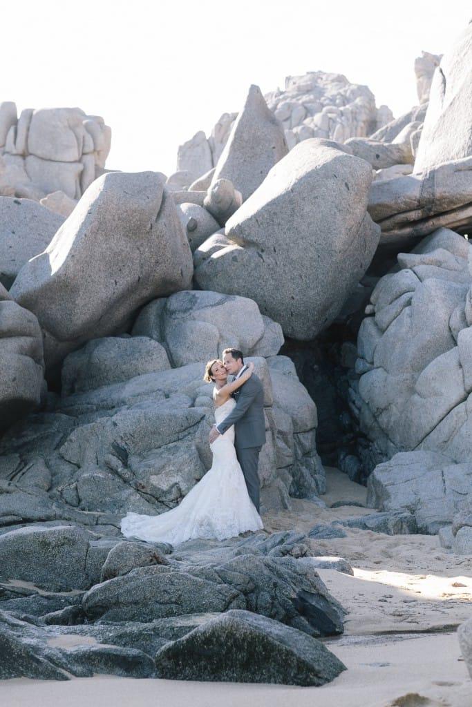 dramatic wedding on the rocks
