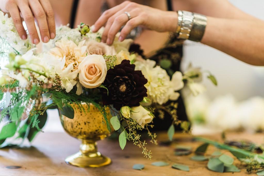 wedding floral in brass vase