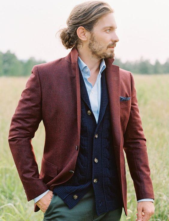 fall wedding style cardigan groom