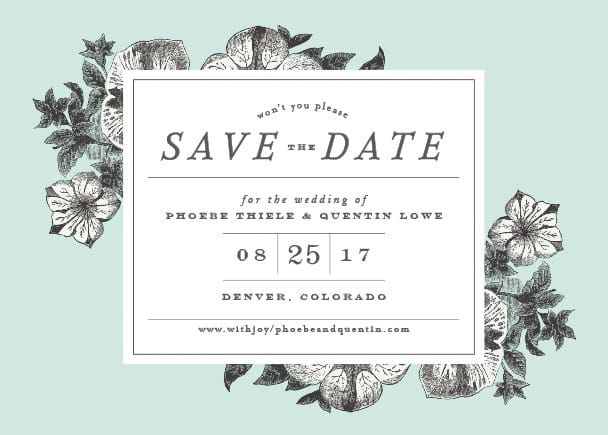 flowers blue save the date example