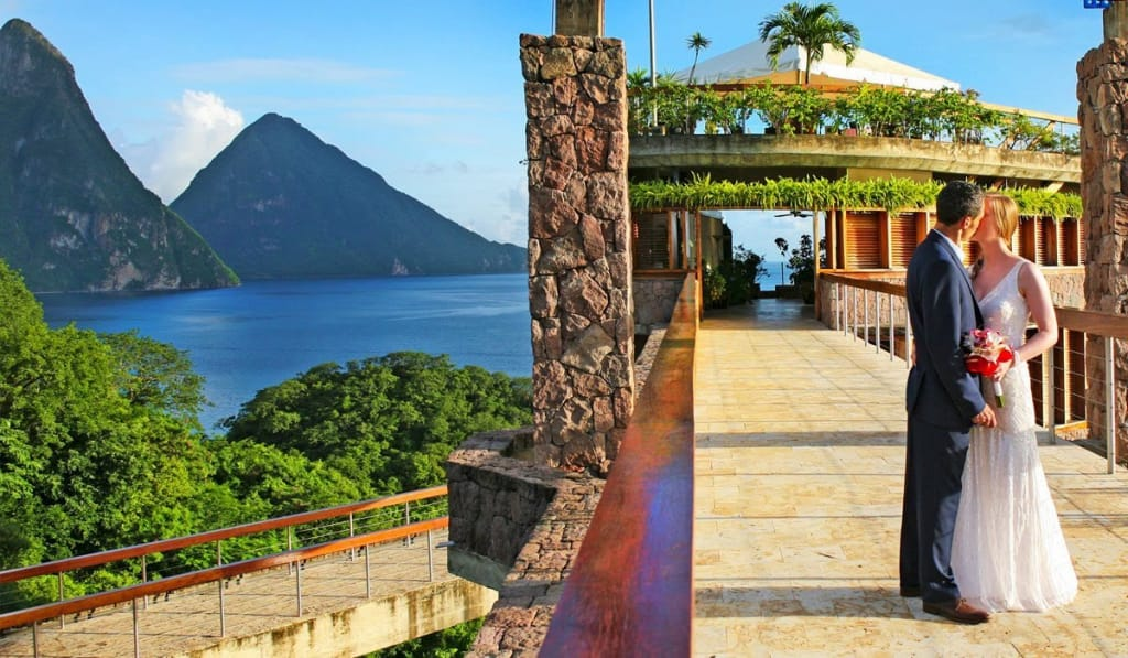 bride and groom kissing outside at St. Lucia's Jade Mountain Resort