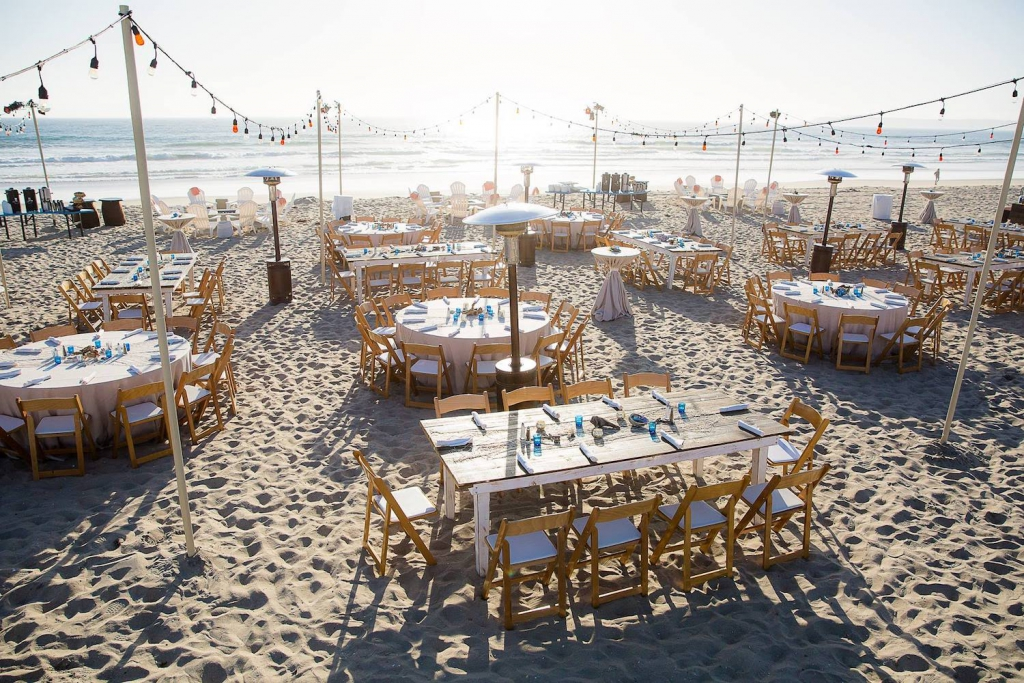 beach reception setup at lowes coronado bays resort in san diego