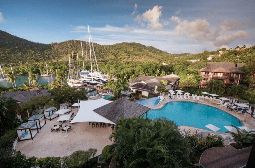view of the pool and marina at Marigot Bay Resort and Marina by Capella in St. Lucia