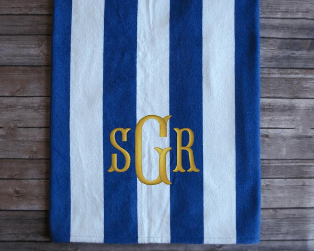 monogrammed beach towels groomsmen proposal idea