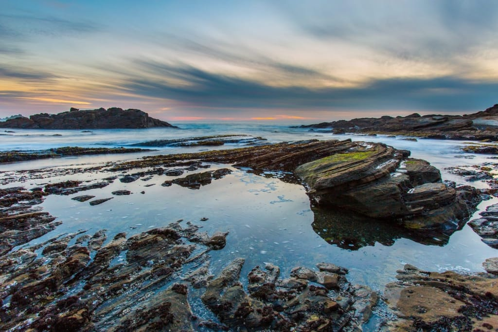 tide pools at california's weston beach in point lobos state park at sunset