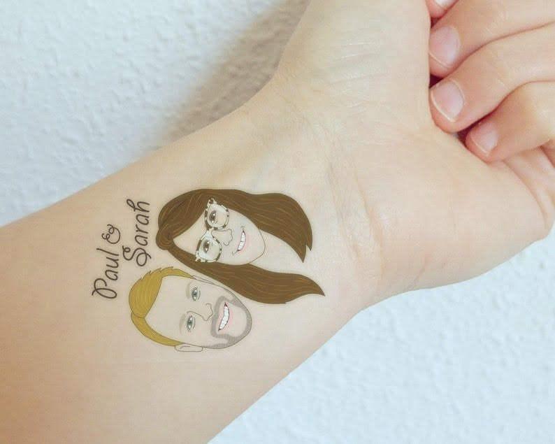 engagement party favor portrait tattoo