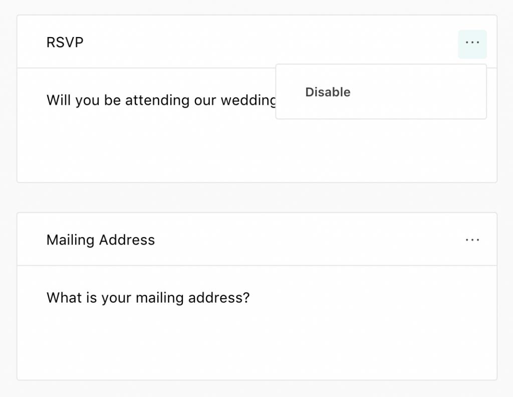 Joy's online RSVP tool