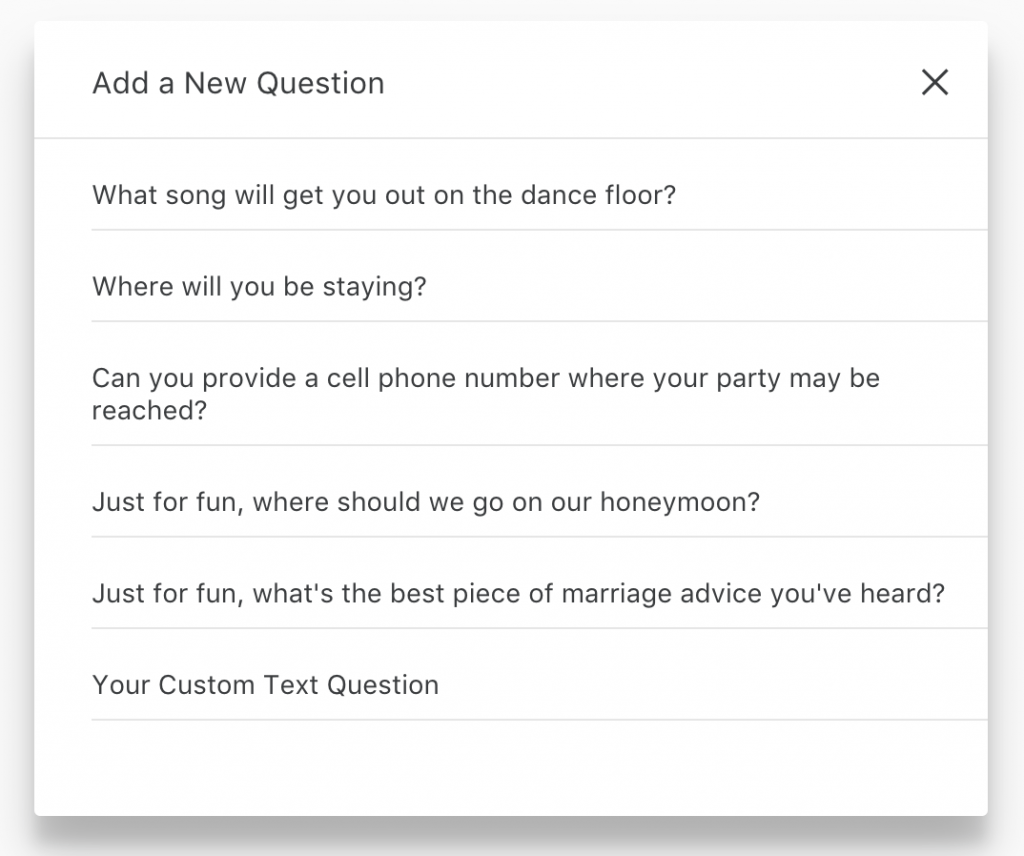 Add a New Question: Joy's online RSVP tool