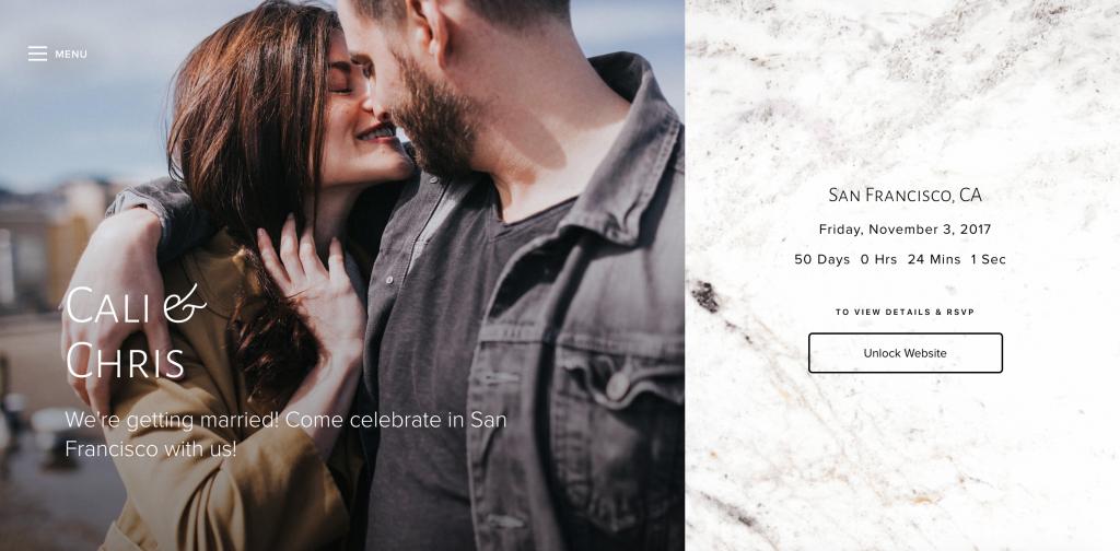 Joy Wedding Website Example: Chris & Cali - Joy