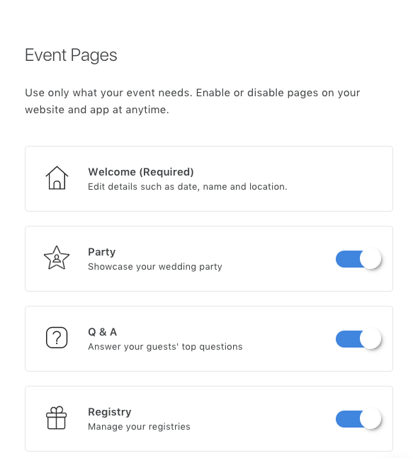event pages