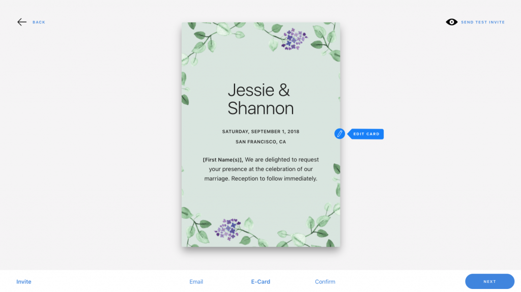 invitation e-card preview