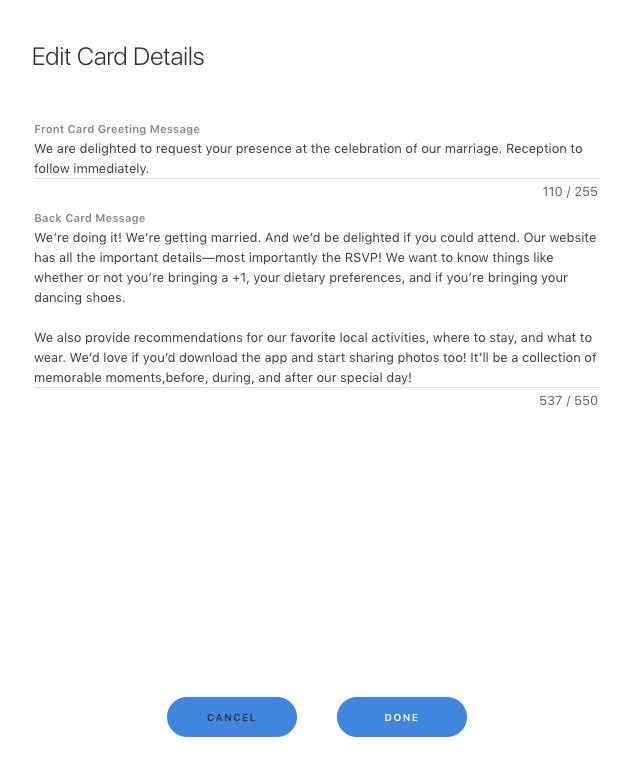 edit invite e-card