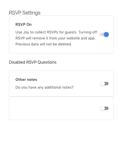 rsvp question setting