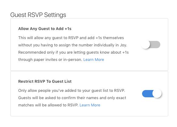 rsvp settings