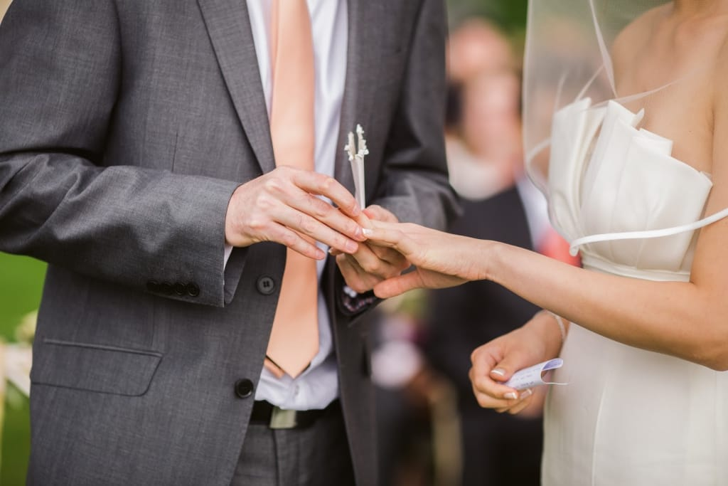 The ring exchange is part of the wedding ceremony order
