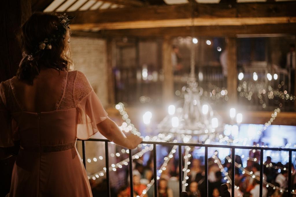 woman at wedding venue reception
