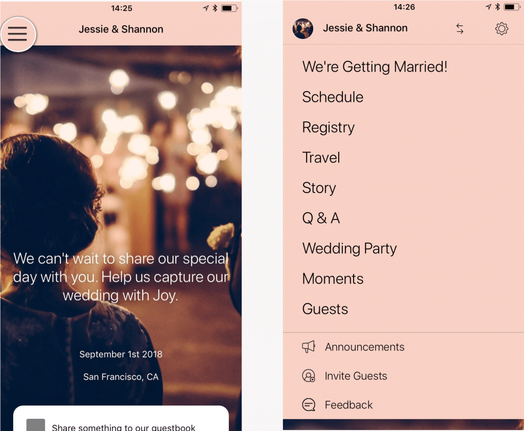 wedding app menu