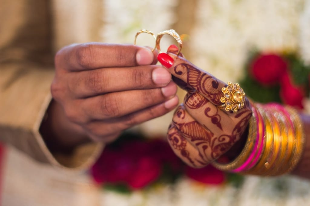 Bright Indian celebration with henna and wedding rings