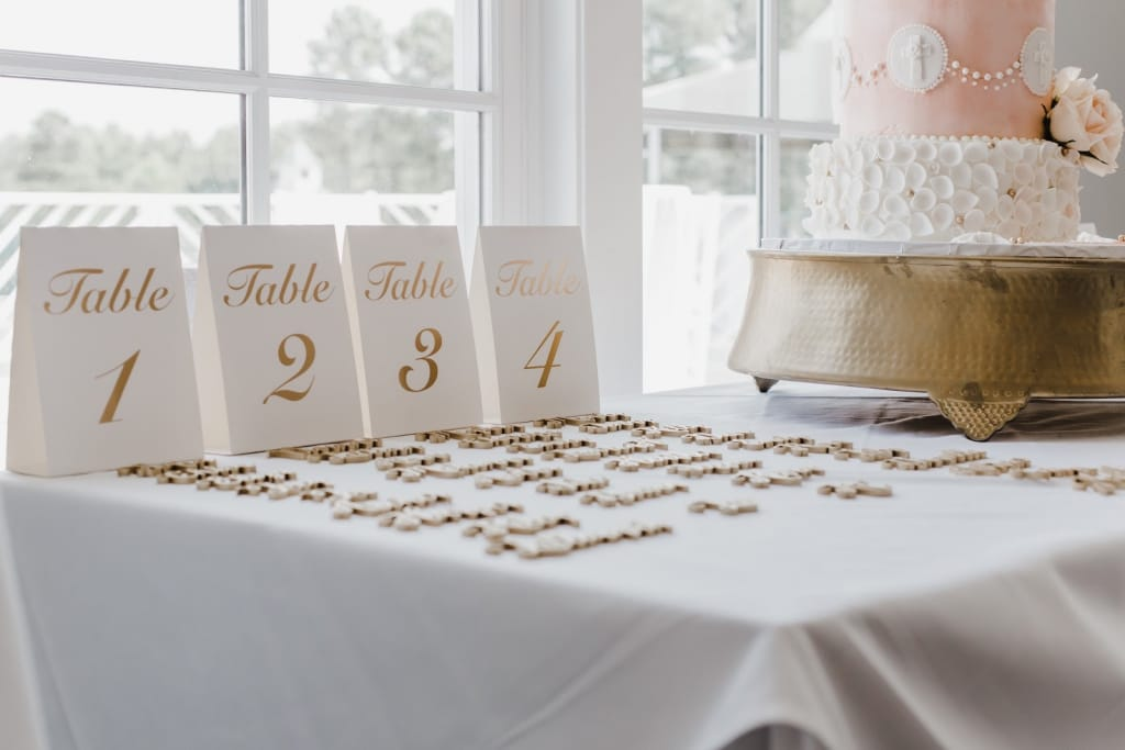Elegant table numbers for a wedding