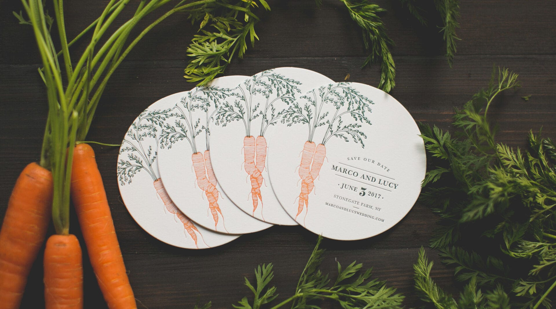 carrot coaster save the date example