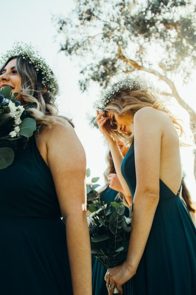 Evergreen bridesmaid dresses are pretty winter wedding colors
