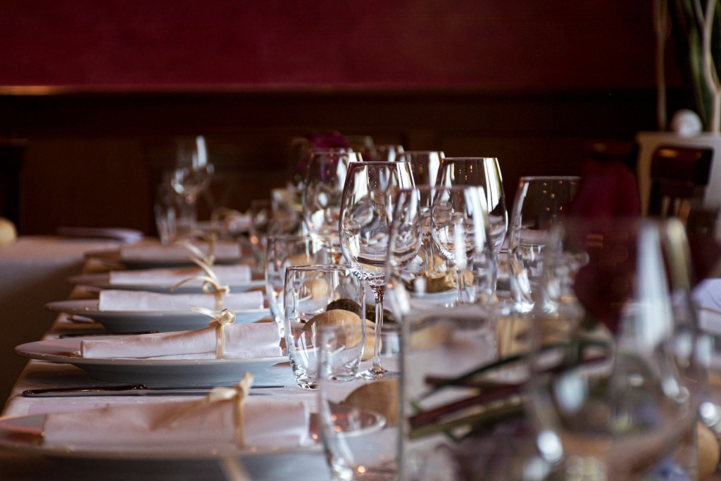 glassware and dinnerware on a table