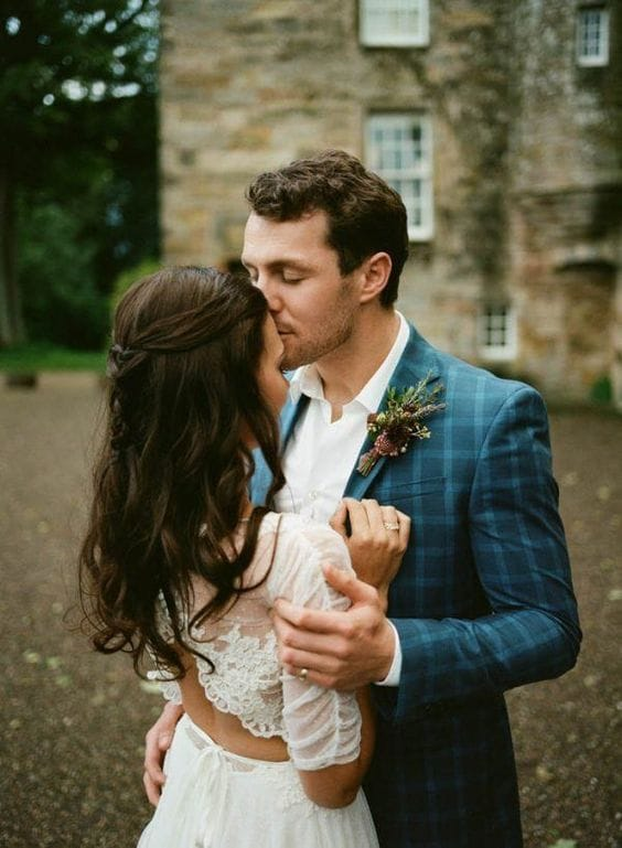plaid suit fall wedding style groom