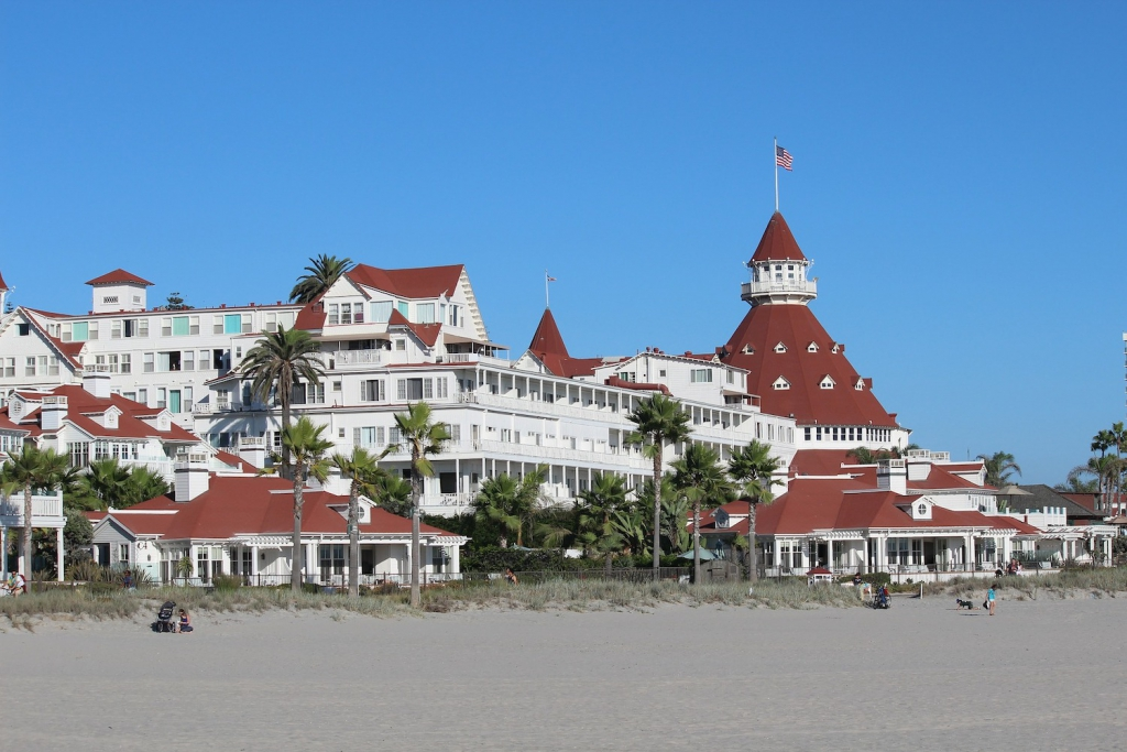 the beach and exterior of san diego california's hotel del coronado