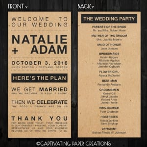 urban wedding program idea