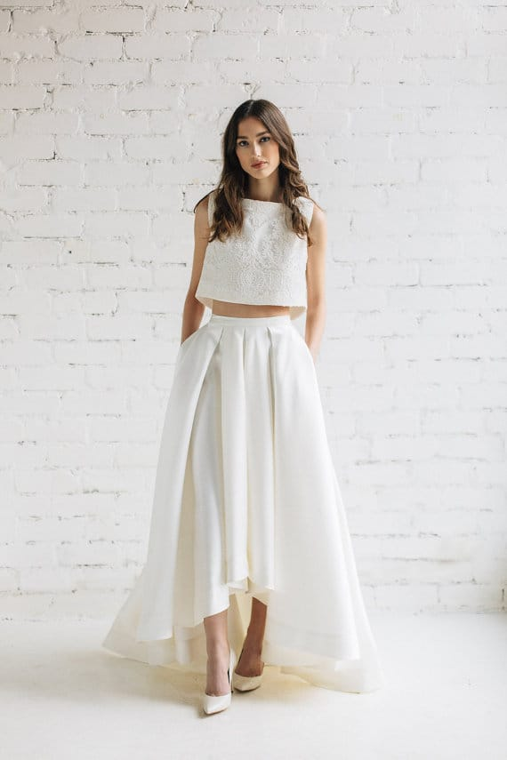 two piece wedding dress with pockets