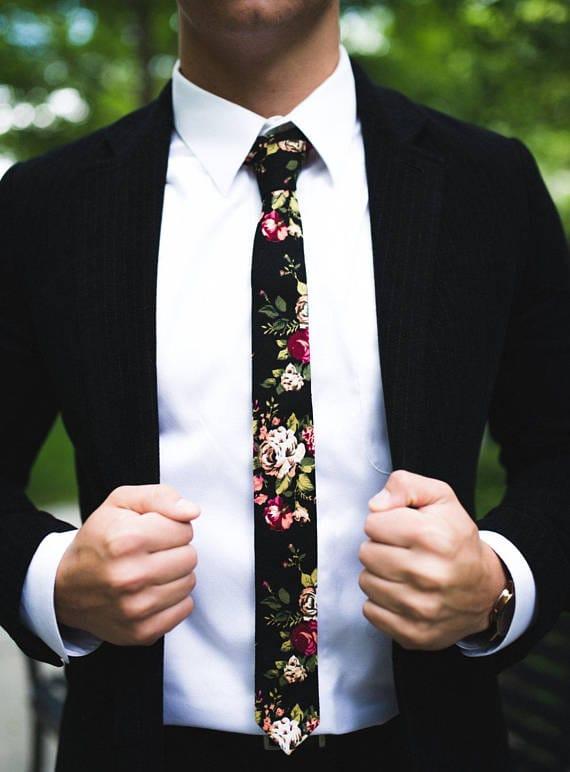 floral tie fall wedding groom attire