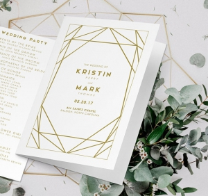 gold geometric wedding program idea