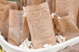 popcorn bags wedding program ideas