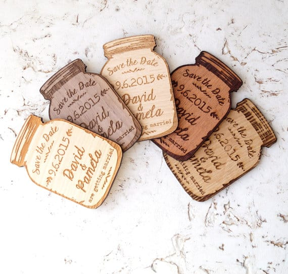 Wooden mason jar magnet save-the-dates