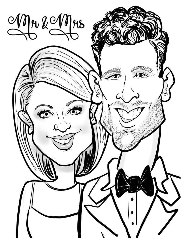engagement party favors caricature portrait