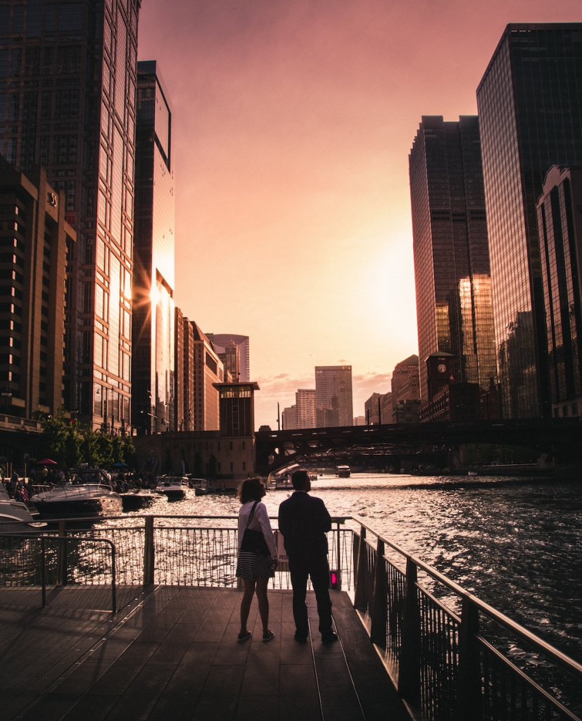 chicago riverwalk at sunset