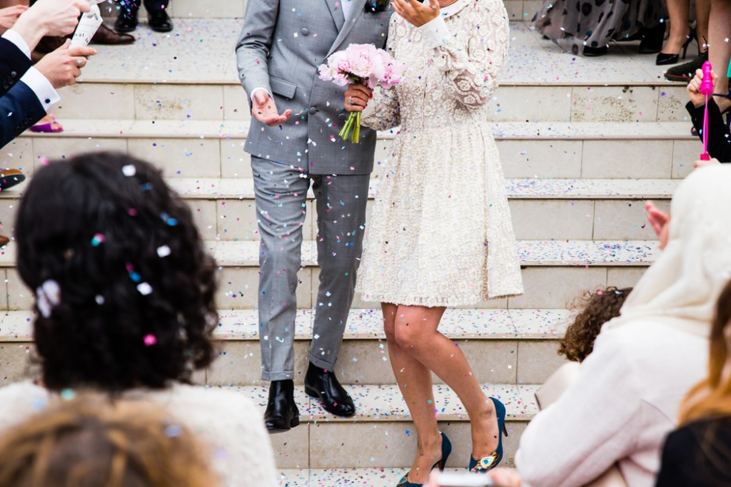 Confetti on couple who just got married
