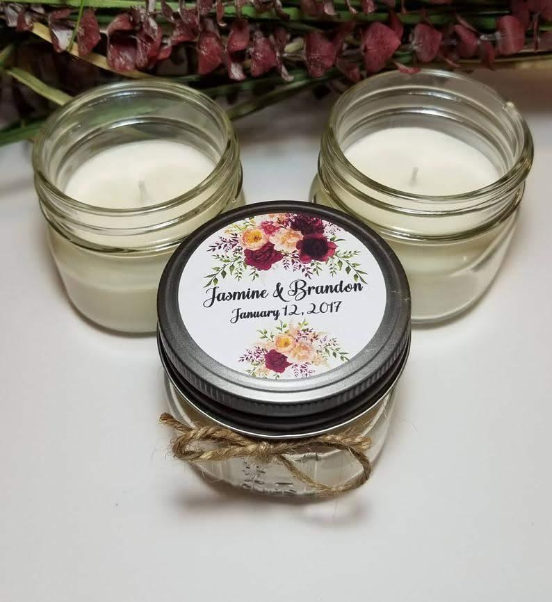 engagement party favor mason jar candles