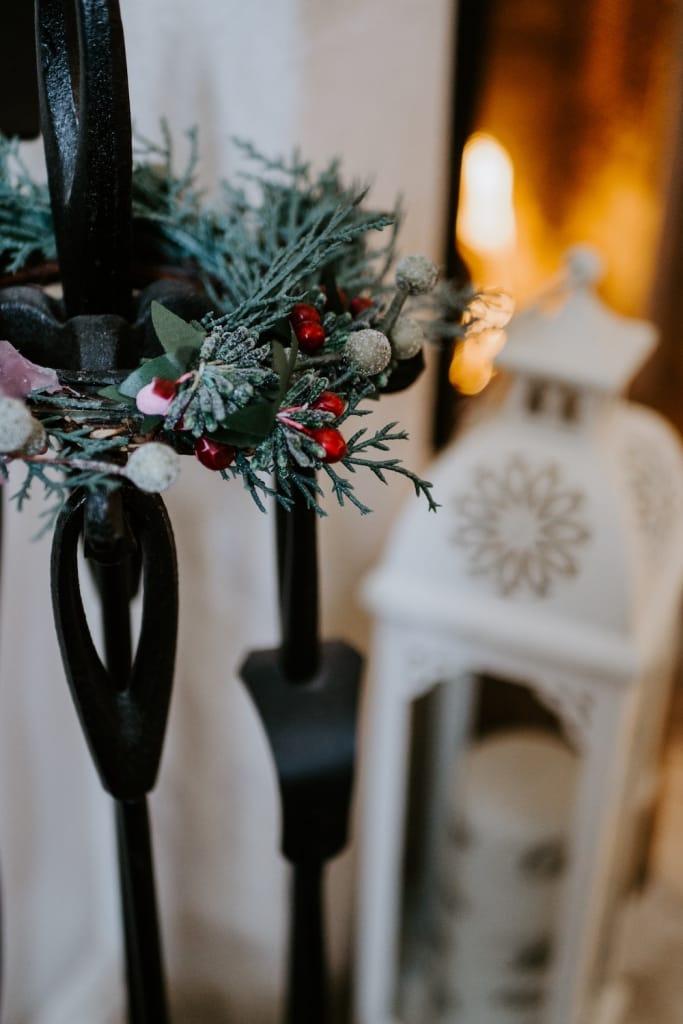 silver brunia on mini christmas wreath