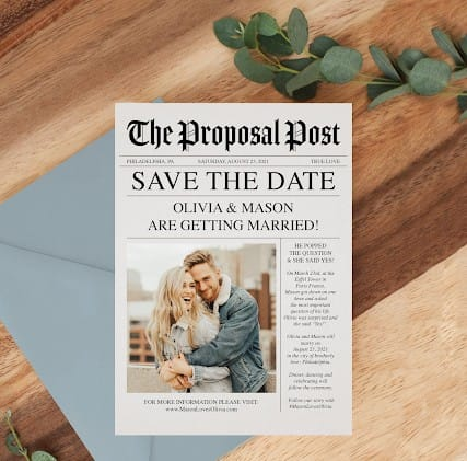 Newspaper post save the date ideas