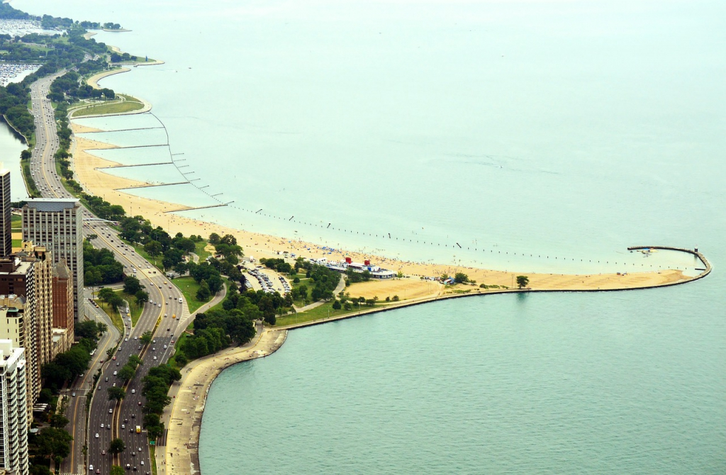 north avenue beach aerial shot