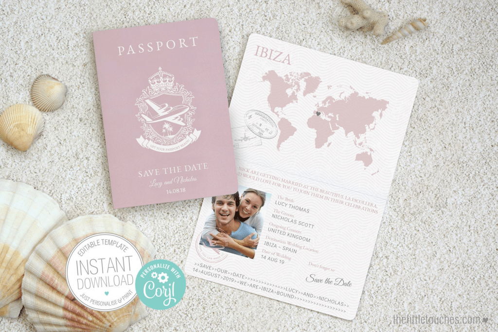 Save the date ideas: Passport of love