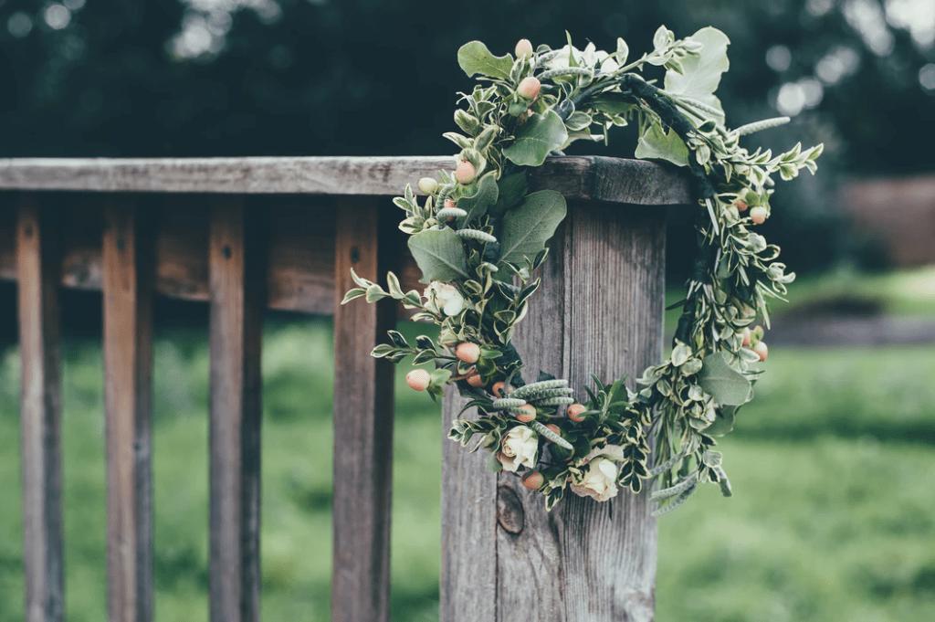 Wedding garland on a wood post
