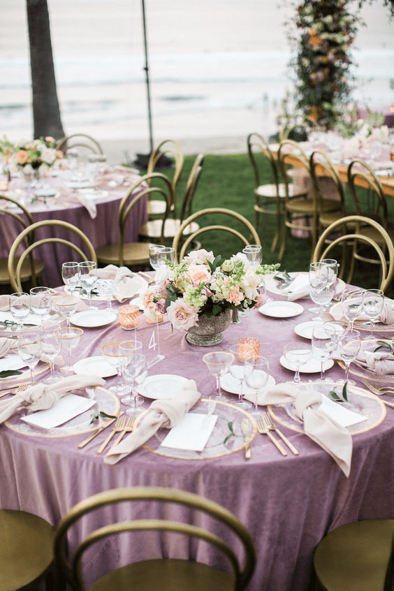 Mauve and gold are popular spring wedding colors
